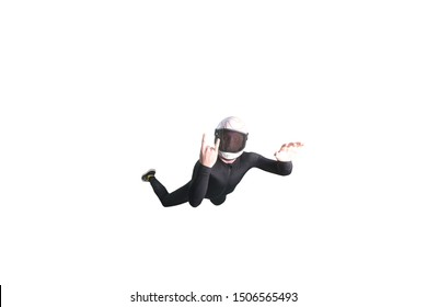 Two. Fly men show two fingers. Sky diver silhouette in black suit show rock. Sky diver fly in wind tunnel. Indoor skydiving sport