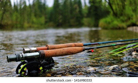 Two fly rods on a fishing trip