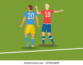 Two football players with numbers on T-shirts 2018. Green soccer field with white line.