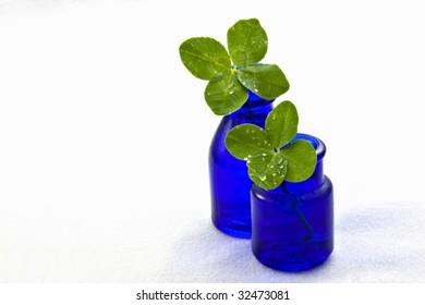 Two four-leaved clovers in old cobalt blue medicine bottles