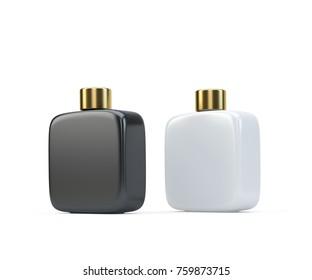 Two fragrance perfume bottles mockup, isolated on white. 3d render.
