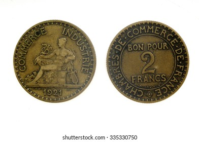 two francs ,1921, french coin,