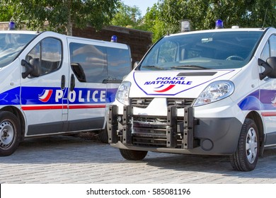 Two French police truck waiting for an intervention