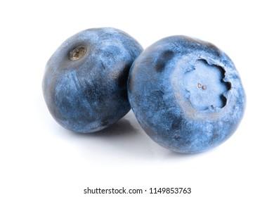 two fresh blueberry isolated on white background