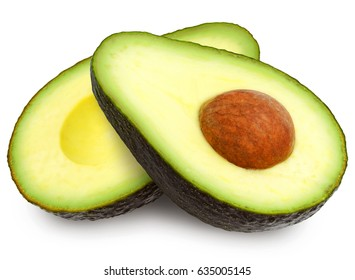 Two fresh brown ripe avocado slices isolated on white background.