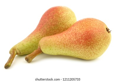 "two fresh ""Carmen"" pears on a white background"