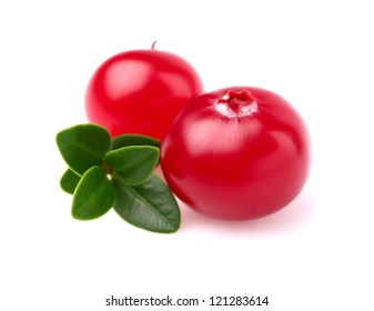 Two fresh cranberry with leaf