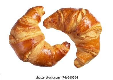 Two fresh croissants isolated on a white background