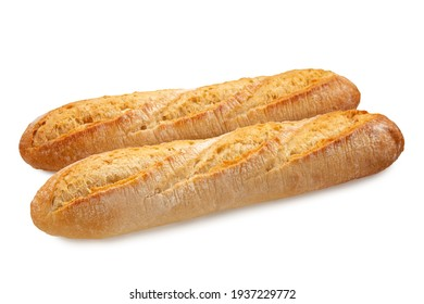 two fresh crunchy french baguette breads isolated on white