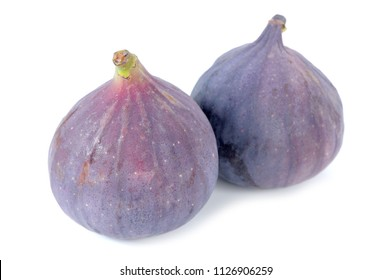 Two Fresh Fig Fruits Isolated on White