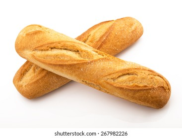 two fresh italian bread on white background