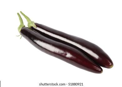 two fresh long eggplant