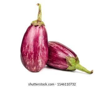 Two fresh purple eggplant graffiti on white background