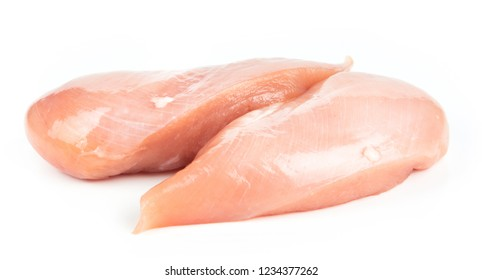 Two fresh raw chicken breasts isolated on white background