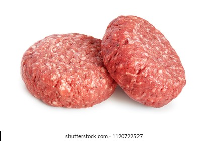 Two fresh raw patties isolated on white