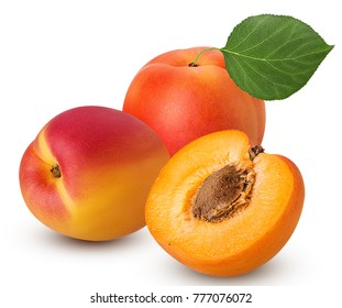 Two fresh ripe apricot with leaf one cut in half with bone isolated on white background. Clipping Path. Full depth of field.