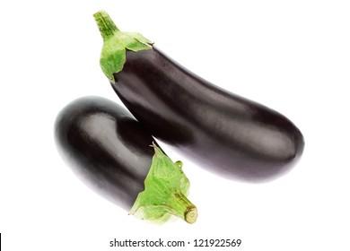 Two fresh ripe eggplant. On a white background.
