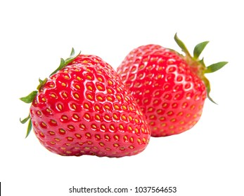 Two fresh ripe juicy strawberry isolated on white