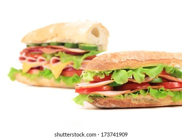 two fresh sandwiches isolated on white background