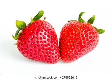 Two fresh strawberries on white isolated background. Panoramic style.