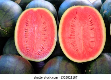 Two fresh watermelon in asian market