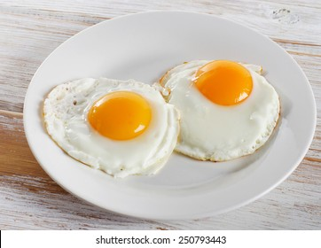 Two fried eggs for healthy breakfast .