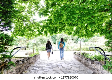 Two friends enjoying life in a botanical garden in Belfast