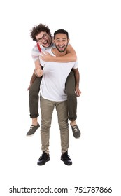 Two friends enjoying their time, They carry each other piggyback. Isolated on white background.