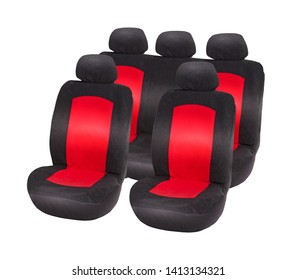 Two front seat and back sofa red and black velours car seat covers with headrests, upper front side view, isolated on white