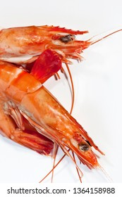 Two frozen gambas on a white background