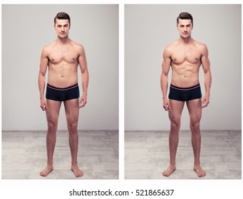 Two full length portraits of a same man before and after standing and looking at camera. From fat to slim concept