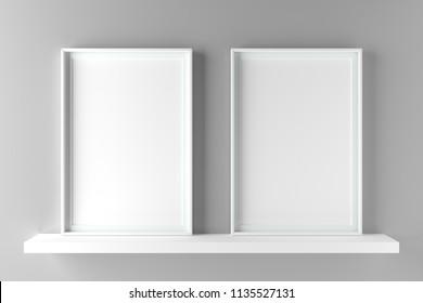 Two fundamental and elegant frames standing on shelf, mock up poster on wall. 3D illustration render