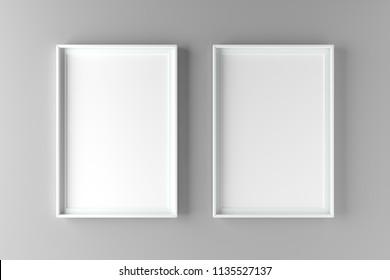 Two fundamental and elegant mock up poster on wall. 3D illustration render