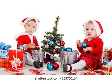 two funny baby girl santas
