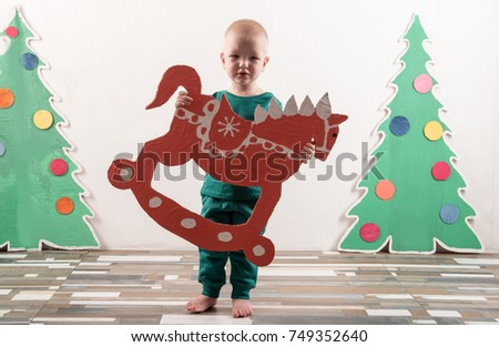 Two Funny Boys Santa Claus Hat Stock Photo Edit Now 749352640