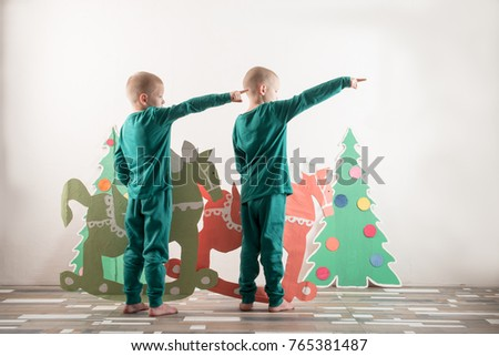 Two Funny Boys Santa Claus Hat Stock Photo Edit Now 765381487