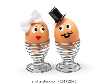 Two funny cheerful eggs - groom and  bride
