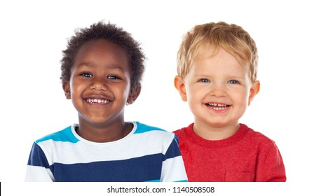 Two funny children laughing isolated on a white backround