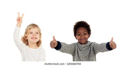 Two funny children saying Ok isolated on a white background