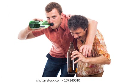 Two funny drunken men with bottle of alcohol, isolated on white background