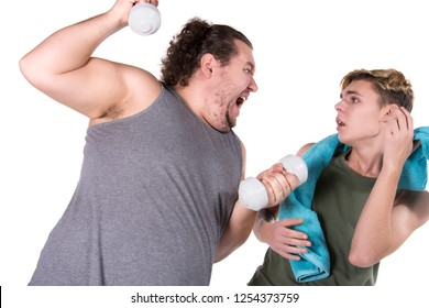 Two funny guys and fitness. White background.
