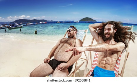Two funny guys on deckchair