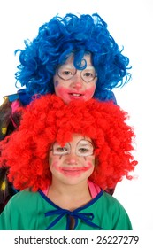 Two funny little clowns with orange and blue hair