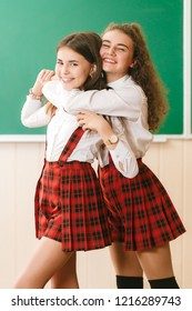 two funny schoolgirls in school uniform are standing with books on the background of the school board.