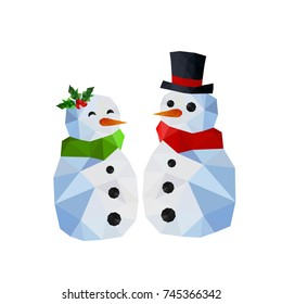 Two funny snowman, man and woman