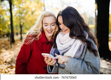 Two funny women friends laughing and sharing social media videos in a smart phone outdoors