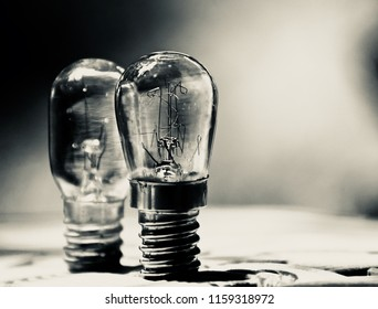 Two fused filament bulbs isolated object unique blurry photo