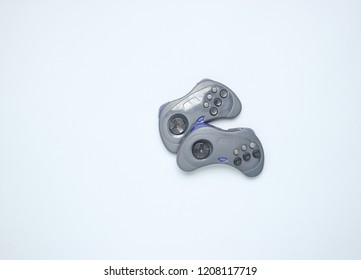 Two gamepad on gray background. top view
