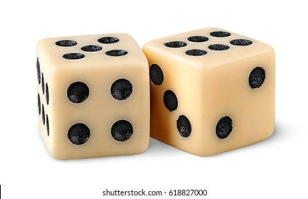 Two gaming dice isolated on white background
