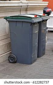 Two garbage wheelie bins at street